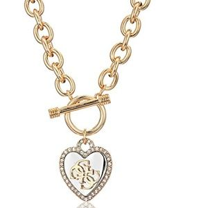 GUESS Womens Pave Framed Heart Toggle Necklace